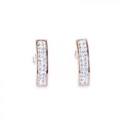 Boucles d'oreilles Doré Rose & Cristal Swarovski Blanc