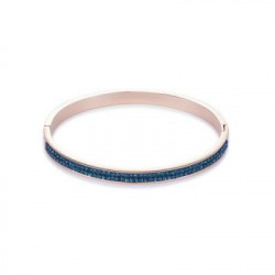 Bracelet Jonc Doré Rose & Cristal Swarovski Bleu