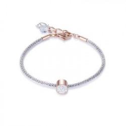 Bracelet Doré Rose & Cristal Swarovski Blanc