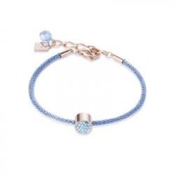 Bracelet Doré Rose & Cristal Swarovski Bleu