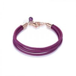 Bracelet Cuir Violet  & Acier Doré Rose