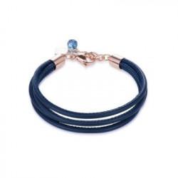 Bracelet Cuir Bleu & Acier Doré Rose