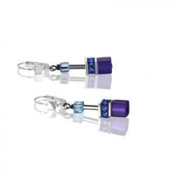 Boucles d'Oreilles Acier Argenté & Cristal Swarovski Bleu/Violet
