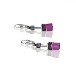 Boucles d'Oreilles Acier Argenté & Cristal Swarovski Violet/Rose
