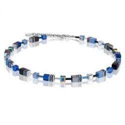 Collier Acier Argenté & Cristal Swarovski Multi Bleu