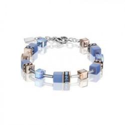 Bracelet Acier Argenté & Cristal Swarovski Multi Bleu