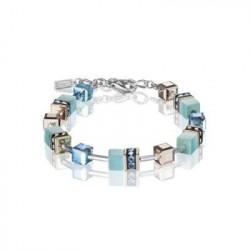 Bracelet Acier Argenté & Cristal Swarovski Multicolore Bleu
