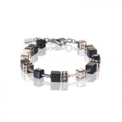 Bracelet Acier Argenté & Cristal Swarovski Multicolore Noir