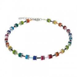 Collier Acier Argenté & Cristal Swarovski Multicolore
