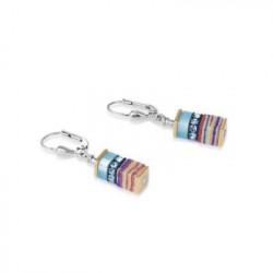 Boucles d'Oreilles Acier Argenté & Cristal Swarovski Multicolore