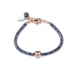Bracelet Acier Doré Rose & Cristal Swarovski Bleu