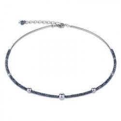 Collier Acier Argenté & Cristal Swarovski Bleu