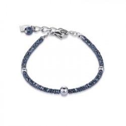 Bracelet Acier Argenté & Cristal Swarovski Bleu