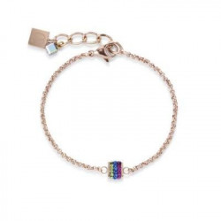 Bracelet Acier Doré Rose & Cristal Swarovski Multicolore