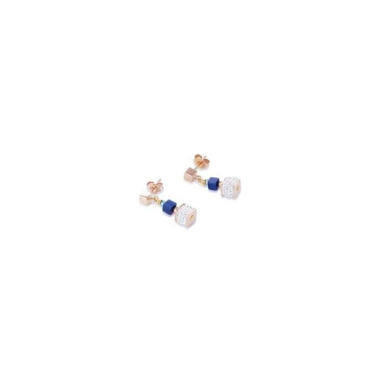 Boucles d'Oreilles Acier Doré Rose & Cristal Swarovski Multicolore