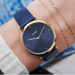 Triomphe Leather Gold Blue/Blue CW0101208011