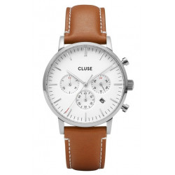 Aravis chrono leather silver white/light brown CW0101502003