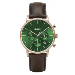 Aravis chrono leather rose gold green/dark brown CW0101502006