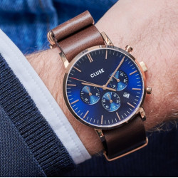 Aravis chrono nato leather rose gold dark blue/dark brown CW0101502008