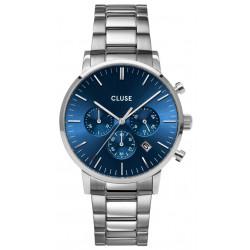 CLUSE Homme Aravis Chrono Steel, Silver, Dark Blue CW0101502011