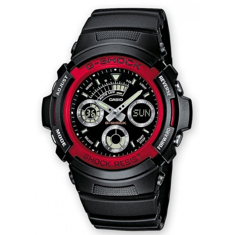 CASIO Montre Homme AW 591 4AER G SHOCK Classic Rouge