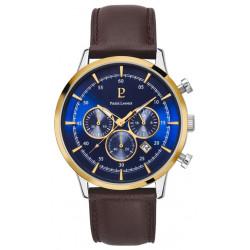PIERRE LANNIER Montre Homme 224G264 Capital Cuir Marron & Bleu
