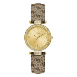 GUESS Montre Femme W1230L2 Terrace Dore & Cuir Marron