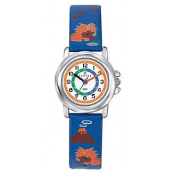 CERTUS JUNIOR Montre Garçon Dinosaures Cuir Bleu & Orange 647632