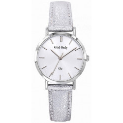 GIRL ONLY Montre Femme 699132 Cuir Gris & Blanc