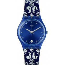 SWATCH Montre Femme GN413 Calife Silicone Noir Blanc & Bleu