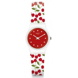 SWATCH Montre Femme LW167 Cherry Me Silicone Rouge & Blanc