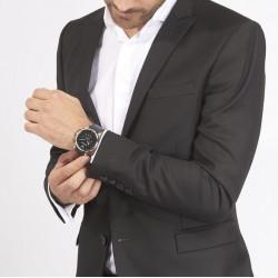 EMPORIO ARMANI Montre Homme AR1828 Cuir Noir & Argenté