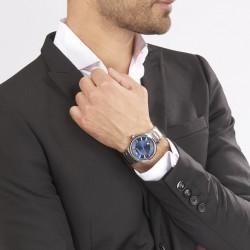 EMPORIO ARMANI Montre Homme AR2477 Acier Argenté & Bleu