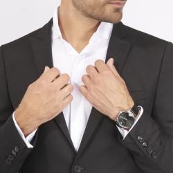 EMPORIO ARMANI Montre Homme AR2500 Cuir Noir & Argenté