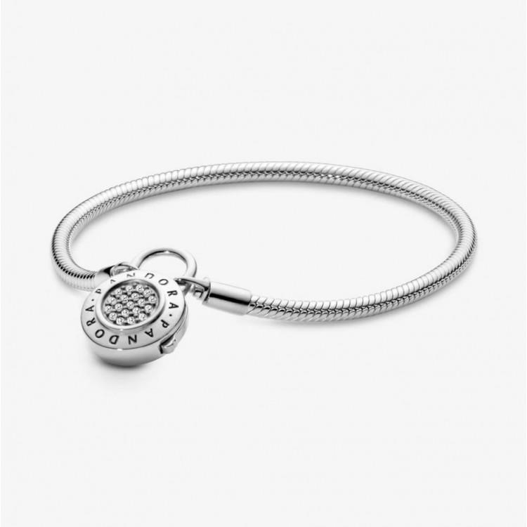 PANDORA Bracelet Maille Serpent Fermoir Cadenas Pavé Pandora Moments  597092CZ