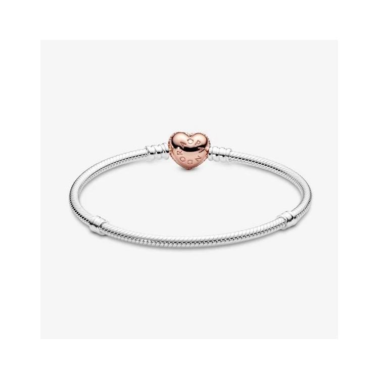 PANDORA Bracelet Maille Serpent Fermoir Cœur Pavé Pandora Moments 586292CZ