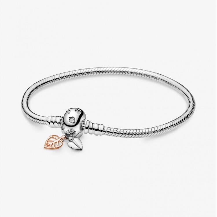 PANDORA Bracelet Maille Serpent et Feuilles Pandora Moments 588333CZ